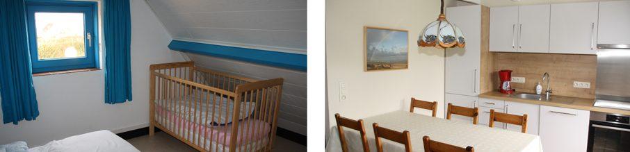 't Vakantiehuisje Pierroo - babybed en keuken